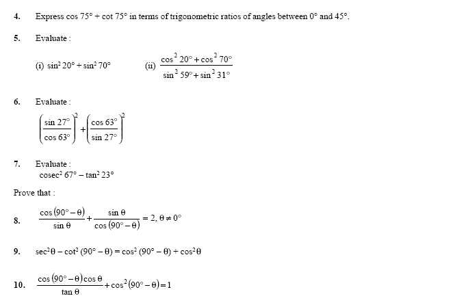 Trignometric Ratios of Complementory Angles 2 High School – Math Worksheets High School